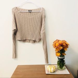 Cropped Tan Knit Sweater